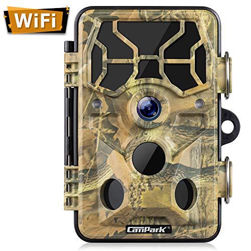 Campark WiFi Wildkamera 20MP 1296P, WLAN mit Bewegungsmelder Nachtsicht Wildlife Jagdkamera, Wildtierkamera mit Nachtsichtbewegung Wasserdicht IP66