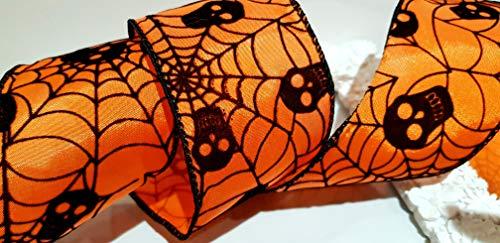 Ribbon Queen Halloween-Band, mit Draht, Orange auf Schwarz, 63 mm breit x 2 m (in Verpackung)