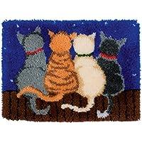 4 Modell Katze Knüpfteppich für Kinder und Erwachsene zum Selber Knüpfen Teppich Latch Hook Kit child Rug Cat285 53 by 38 cm