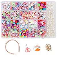 Ucradle DIY Bead Set, 500pcs Children Pop Beads for Making Necklace Bracelet Ring, Art Craft & Jewellery Making Kit for Kids Girls Age 4 5 6 7 8, 24 Types with 4 squares of pearls (Pearls Type)