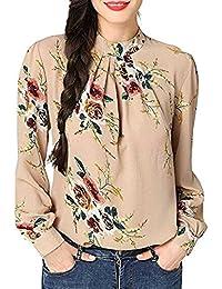 NPRADLA T Shirt Imprimé Floral Mousseline Soie Chemise DéContractéE Manches  Longues Col Montant Collier Support Tops 4959ad90ce78