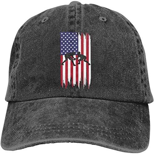 Sukaka Unisex verstellbare Garn gefärbt Denim Baseball Cap Wrestling amerikanische Flagge Papa Hut -