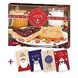 itenga AktionsSet4 1x Roth gefüllter Adventskalender Guten Morgen mit Frühstücksartikeln + 4 Weihnachtskarten Klappkarten