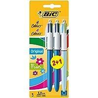 Bic 4 Couleurs Stylo-Bille Pack de 2 +1 Gratuit - Couleur Assortis