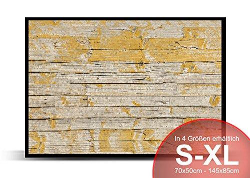 Printalio - Gelbe Holzlatten alt - Schmutzmatte Bodenvorleger Fussmatte Türmatte Abtreter Abstreifer gummierter Rand rutschfest waschbar individuell | 85 cm x 60 cm