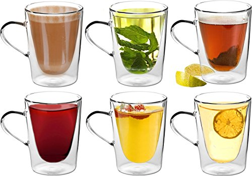 Rink Drink Chemins de Glace-Verres Latte/café/thé Double Paroi de Boisson avec poignée 285 ML (10oz) – X6