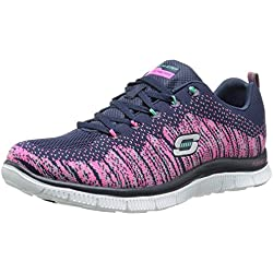 Skechers Flex Appeal Talent Flair Navy Pink Womens Trainers Shoes-3