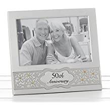 Golden 50th aniversario de boda marco de fotos – plateado satinado, con oro diamantes 70864