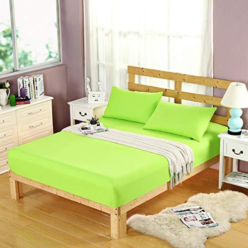 hllhpc Schleifbett einfache Farbe Einzelstück Schleifen Bettlakenbezug Bettdecke glatt reines Obst grün 150x200cm [mit Kissenbezug]
