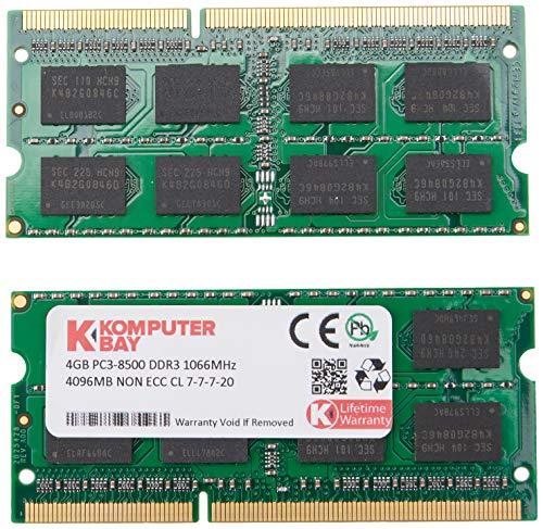 Komputerbay 8GB (2X4GB) DDR3 SODIMM (204 pin) 1066Mhz PC3-8500 (7-7-7-20) Laptop Notebook Speicher für Apple Macbook Pro -