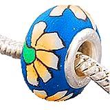 Charm Buddy Blue Daisy, Acrylblüten Fimo Bead Versilbert für Pandora Troll Charm Armbänder