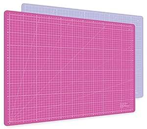 Guss & Mason Selbstheilende Schneidematte A2 in Pink, Blau, Grün. Perfekt zum Nähen, Basteln und Patchworken. 60x45 beidseitig Bedruckt. cm und inch Angabe