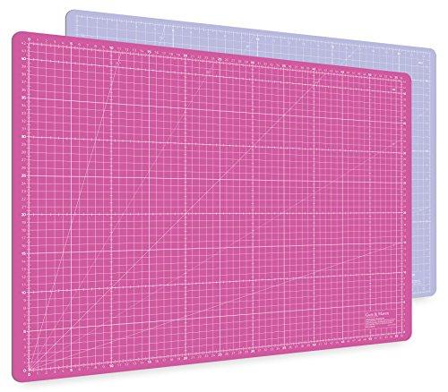 Guss & Mason Selbstheilende Schneidematte A2 in Pink, Blau, Grün. Perfekt zum Nähen, Basteln und Patchworken. 60x45 beidseitig Bedruckt. cm und inch Angabe (Grau Und Rosa Papier-platten)