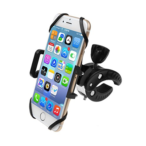 IDEAPRO Bike Mount Bicycle Handlebar Phone Holder, Universal Cradle Clamp Adjustable Bicycle Motorbike Bracket Mount Frame with Rubber Strap for Android IOS Smartphone GPS (S3 black)