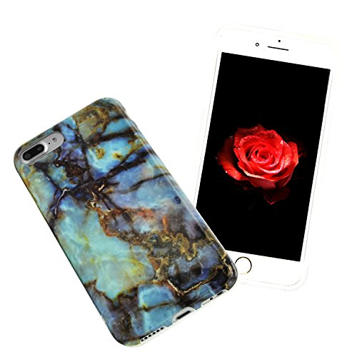 iPhone 8 Plus Hülle, iPhone 8 Plus Marmor Handyhülle, iPhone 8 Plus Marble Hülle, Sunroyal Marmor Serie Flexible TPU Silikon Schutz Handy Hülle Handytasche HandyHülle Schale Case Cover Schutzhülle für Farbe 07
