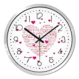 BYLE wall clock BYLE Kreative Wanduhren stilvolles Wohnzimmer Schlafzimmer Liebe Rosa Liebe Styling Mute Serienbriefe Heart-Shaped Muster Wohnkultur Wanduhr, 12 Zoll, Kurve Snake black Box,