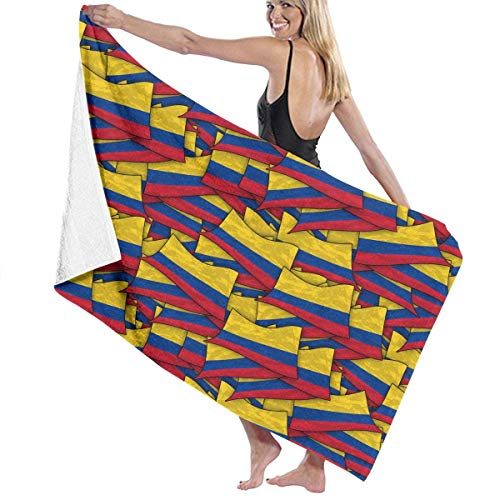 xcvgcxcvasda Serviette de bain, Microfiber Beach Towels for Travel Tropical & Colombia Flag Wave Beach Towel Prints for Beach, Travel, Cruise, Outdoor, Thick Beach Towels 32