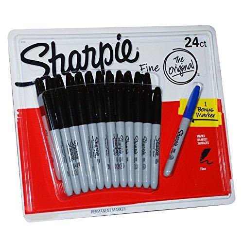 Sharpie - Juego de 24 rotuladores permanentes negros de punta fina más uno de regalo
