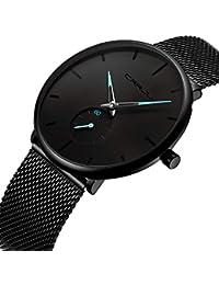 a43eedae6d11 Date des cadrans noirs pour hommes de la mode analogique minimaliste pour  hommes avec des montres