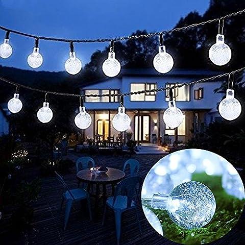Goodid guirnalda de luces solar impermeable 6M 30 bombillas de LED Burbuja Blanco