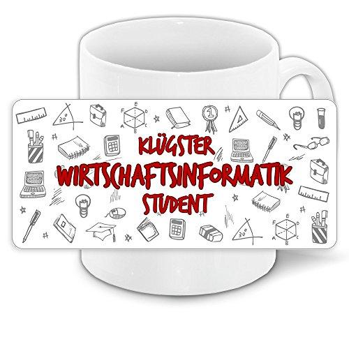 Tasse für-Studenten mit Motiv - Klügster Wirtschaftsinformatik-Student - | Studenten-Geschenk | Studenten-Tasse