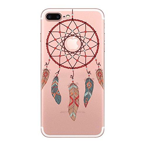 iPhone 7 plus Hülle, Schutzhülle Case Silikon- Clear Ultra Dünn Durchsichtige Backcover TPU Case für iPhone 7 plus Traumfänger Scharlach