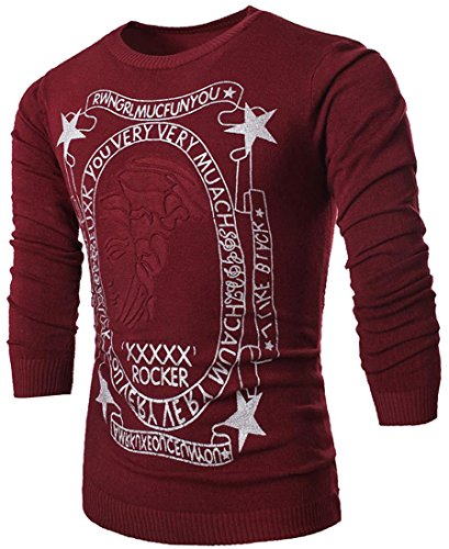jeansian Herren Slim Fit Casual Crew Neck Knitted Jumper Knitwear Sweater Long Sleeves Pullover Shirts Slim Fit Top 88A2 WineRed