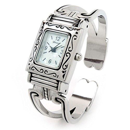 FTW Silber Western Style Rechteck Gesicht verziert Damen-Armreif Manschette Armbanduhr