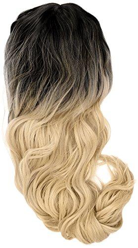 amback lang Dye dunklen Wurzeln Ombre Cosplay Halloween Perücke für Frauen gelockt Welle Haar Perücken Gap/Gold RF8