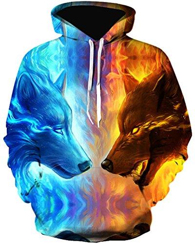 OLIPHEE Herren Wolf 3D Druck Langarm Kapuzenpullover Unisex Hoodie Sweatshirt mit Kängurutasche Eis-feuer