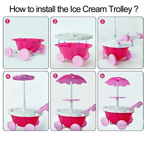 Juguete para niños Ice Cream Trolley, Juega House Toy, Juego de simulación Toy Set, Juguete de rol de niños, Mini Trolley Shop Toy con luz y música