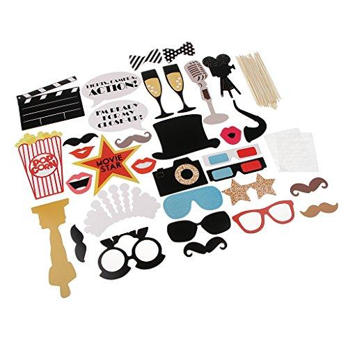 Unbekannt MagiDeal 33pcs DIY Photo Booth Prop Kits Prop Kostüm Foto Requisiten Foto Accessoires, Geeignet für Hochzeit Geburtstag Party und ()