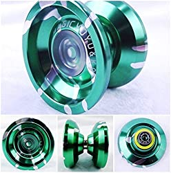 Fashion Magic Yoyo Ball New K9 Top Refers To The King Aluminum Alloy Yo Yos Ball Green & Silver + 5 String & Yoyo Special Gloves Kids Gift