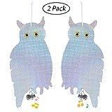 Aolvo Owl - Dispositivo de control de repelente de aves para evitar pájaros de doble cara, holográfico, reflectante, disuasorio para jardines, invernaderos y barcos