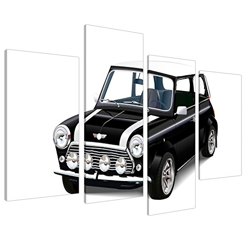 mini-cooper-car-canvas-wall-art-pictures-black-white-xl-prints-4095-by-wallfillers