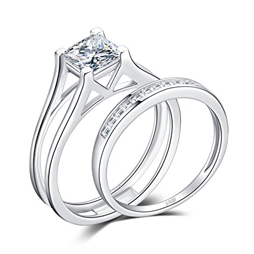 JewelryPalace 1ct Princesse Cut Zircon Cubique Anniversaire Bague De Fiançailles Solitaire Bague De Fiançailles Chaîne De Mariage Ensembles 925 Argent Sterling