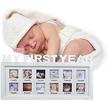 BXT rústico marco de fotos madera bordé de cuerda de yute decoración casa marco para fotos susprendu en cuerda de cáñamo y soporte de mesa regalo para bebé de nacimiento y recuerdos de familia