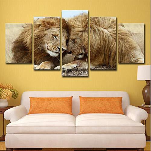 JFW-Canvas HD Prints Bilder für Wohnzimmer Wohnkultur Rahmen 5 Stücke Löwen Paar Lovebirds Gemälde Tier Poster Wandkunst,B,30x45x2+30x60x2+30x76x1