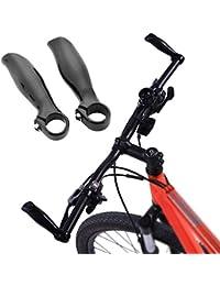 1Par Acoples Manillares de Bicicleta - Puño de Cuernos de Fibra de Carbono para Bici Ciclismo