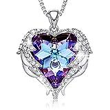 Damen Halskette, Swarovski Herz Kristall Silber Anhänger Herz Ozean Halsketten Modeschmuck Geschenke für Frauen Mädchen Mama