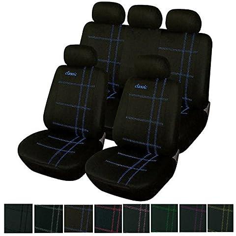 Universal Auto Sitzbezug Set Sitzbezüge Schonbezüge Classic Schwarz/ Blau AS7206