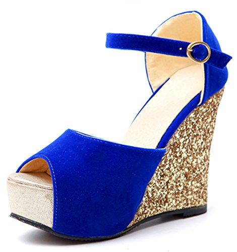 YE , Bride cheville femme Rouge - Bleu