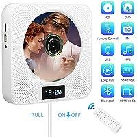 Lettore CD DVD, portatile montabile su parete bluetooth portable CD/DVD player, con telecomando radio FM/incorporati HiFi Diffusori /MP3/jack AV da 3,5 mm, porta USB e HDMI (Bianco)