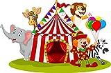 WFWD Cialda in Ostia per Torta Rettangolare Circo Personalizzata, Animali, cialde, ostie, Torte, Topper, Mis. cm 20x30