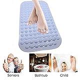 Oriental-X Rutschfeste Badematte Naturkautschuk,36x70cm, Antibakterielle Luxuriöse Duschmatte Badematte für Badewanne Dusche Blau