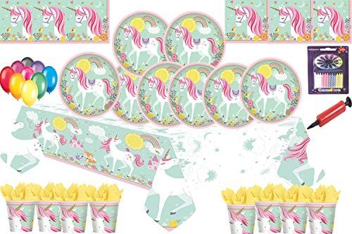 Magical Unicorn Party Kids Birthday Party Vajilla Platos de fiesta Tazas Servilletas de mesa con 25 globos gratis-16 invitados