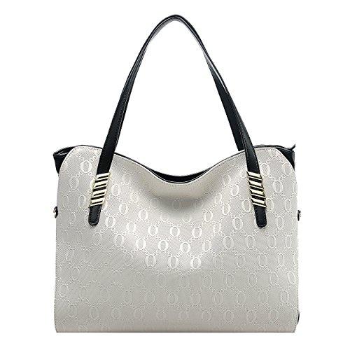 BOYATU echtes Leder Umhängetasche für Damen Top Handtasche Großes Kapazitäten Tote (Champagner Gold) Beige weiß