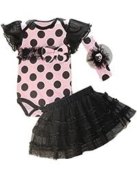 TOOGOO(R) New Fashion Baby Clothing Set Baby Girl Sets Romper+Tutu Skirt+Headband Newborn bebe Spring Summer Clothes-Pink with Black dot,24M