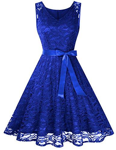 KoJooin Damen Vintage Kleid Brautjungfernkleid Knielang Spitzenkleid Cocktailkleid Empire Blau XS