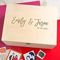 Wooden Personalised Keepsake Box / Couples Gifts Memory Box / Wedding Anniversary Gift / Engagement Gifts for Couples